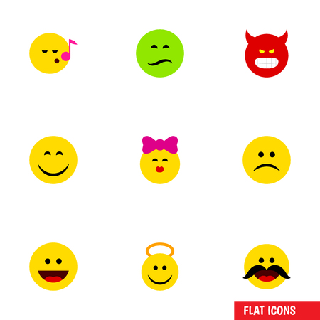 Flat Icon Face Set Of Smile, Descant, Laugh And Other Vector Objects. Also Includes Frown, Sing, Kiss Elements. Illustration