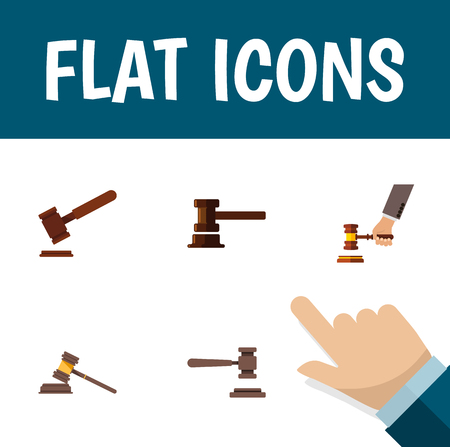 Flat Icon Hammer Set Of Crime, Court, Justice And Other Vector Objects. Also Includes Hammer, Justice, Courthouse Elements.