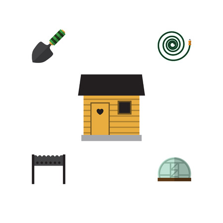Flat Icon Garden Set Of Hothouse, Hosepipe, Trowel And Other Vector Objects. Also Includes Hothouse, Barbecue, Bbq Elements.
