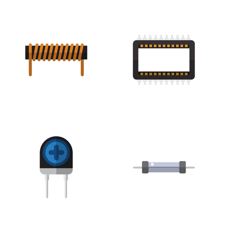 Flat Icon Technology Set Of Mainframe, Transducer, Resistor And Other Vector Objects. Also Includes Mainframe, Unit, Transducer Elements. Illustration