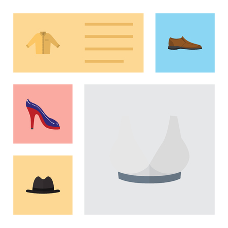 Flat Icon Clothes Set Of Heeled Shoe, Panama, Brasserie And Other Vector Objects. Also Includes Sport, Hat, Panama Elements. Ilustração