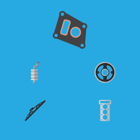 Flat Icon Parts Set Of Gasket, Packing, Belt And Other Vector Objects. Also Includes Wiper, Car, Auto Elements. Illustration