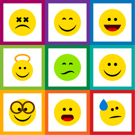 Flat Icon Gesture Set Of Pleasant, Laugh, Wonder And Other Vector Objects. Also Includes Tears, Smile, Eyeglasses Elements.