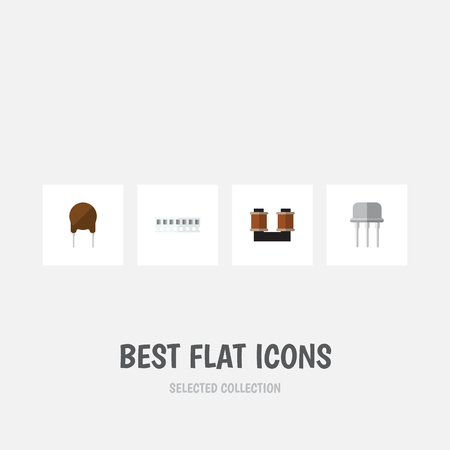 Flat Icon Device Set Of Memory, Triode, Resist And Other Vector Objects. Also Includes Coil, Triode, Semiconductor Elements.