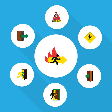 doorknob: Flat Icon Door Set Of Fire Exit, Open Door, Entrance And Other Vector Objects. Also Includes Entry, Entrance, Emergency Elements. Illustration
