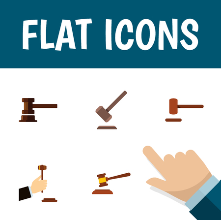 Flat Icon Hammer Set Of Government Building, Tribunal, Defense And Other Vector Objects. Also Includes Defense, Court, Courthouse Elements.
