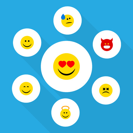 enraged: Flat Icon Face Set Of Cross-Eyed Face, Pouting, Smile And Other Vector Objects. Also Includes Smile, Sad, Cheerful Elements. Illustration