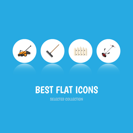 Flat Icon Garden Set Of Harrow, Wooden Barrier, Lawn Mower And Other Vector Objects. Also Includes Barrier, Rake, Harrow Elements.