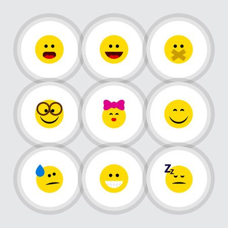 Flat Icon Expression Set Of Laugh, Caress, Grin y otros objetos vectoriales. También incluye Smile, Silent, Wonder Elements.