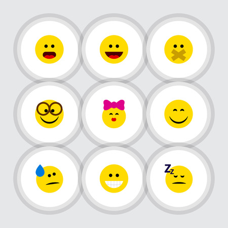 Flat Icon Expression Set Of Laugh, Caress, Grin And Other Vector Objects. Also Includes Smile, Silent, Wonder Elements.