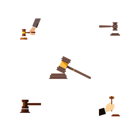 Flat Icon Hammer Set Of Government Building, Court, Law And Other Vector Objects. Also Includes Legal, Crime, Court Elements.