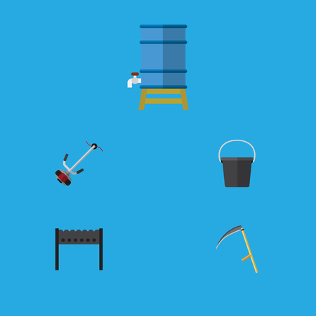 Flat Icon Dacha Set Of Pail, Barbecue, Cutter And Other Vector Objects. Also Includes Cutter, Tank, Pail Elements.