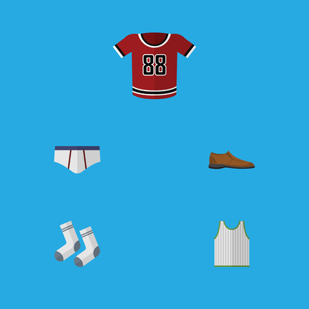 Flat Icon Garment Set Of T-Shirt, Singlet, Underclothes And Other Vector Objects. Also Includes Uniform, Tank, Singlet Elements. Illustration