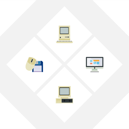 computerized: Flat Icon Laptop Set Of Computing, Computer, Display And Other Vector Objects. Also Includes Mouse, Screen, Computing Elements.