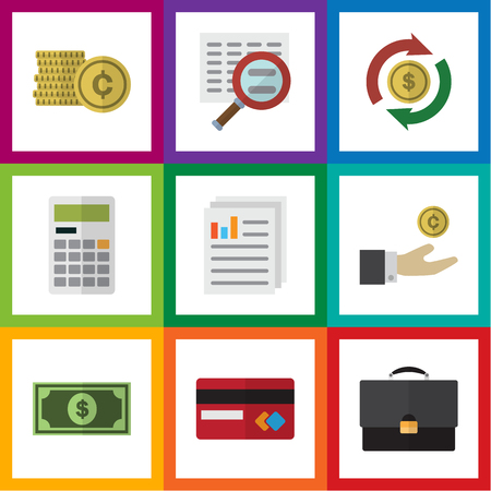 Flat Icon Finance Set Of Interchange, Document, Scan And Other Vector Objects. Also Includes Briefcase, Paper, Interchange Elements.