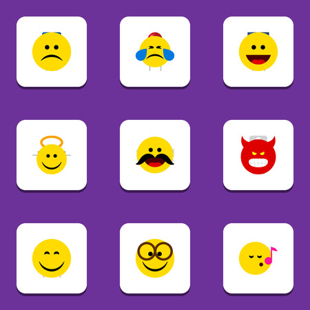 misunderstanding: Flat Icon Face Set Of Smile, Descant, Laugh And Other Vector Objects. Also Includes Smile, Angry, Tears Elements.
