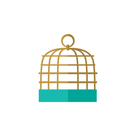 Isolated Birdcage Flat Icon. Bird Prison Vector Element Can Be Used For Birdcage, Prison, Cage Design Concept. Illustration