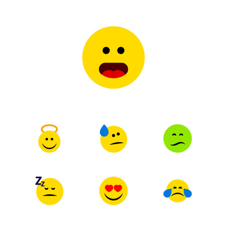 Flat Icon Emoji Set Of Frown, Cold Sweat, Tears And Other Vector Objects. Also Includes Confused, Smile, Face Elements.