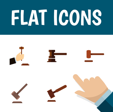 Flat Icon Hammer Set Of Law, Tribunal, Defense And Other Vector Objects. Also Includes Legal, Justice, Courthouse Elements.