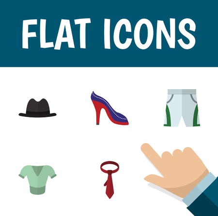 Flat Icon Clothes Set Of Panama, Cravat, Heeled Shoe And Other Vector Objects. Also Includes Shorts, Fedora, Sandal Elements. Illustration