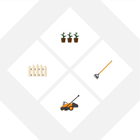 Flat Icon Farm Set Of Lawn Mower, Flowerpot, Tool And Other Vector Objects. Also Includes Fence, Lawn, Cutter Elements.