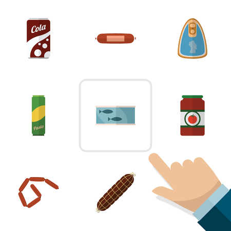 Flat Icon Food Set Of Spaghetti, Ketchup, Tin Tuna And Other Vector Objects. Also Includes Fizzy, Tomato, Drink Elements.
