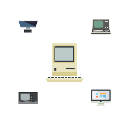 computerized: Flat Icon Laptop Set Of Vintage Hardware, Display, PC And Other Vector Objects. Also Includes Personal, Vintage, Display Elements.