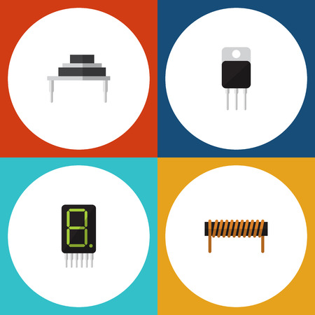 Flat Icon Appliance Set Of Receiver, Destination, Display And Other Vector Objects. Also Includes Receiver, Copper, Bobbin Elements.