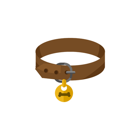 Isolated Puppy Collar Flat Icon. Hound Necklace Vector Element Can Be Used For Puppy, Dog, Collar Design Concept.