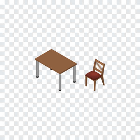 Isolated Table Isometric. Chair Vector Element Can Be Used For Table, Chair, Furniture Design Concept. Illustration