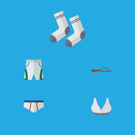 Flat Icon Dress Set Of Underclothes, Foot Textile, Brasserie And Other Vector Objects. Also Includes Sandal, Textile, Underclothes Elements.