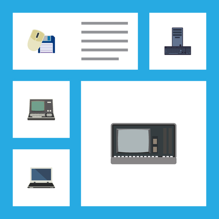 computerized: Flat Icon Laptop Set Of Notebook, Processor, Technology And Other Vector Objects. Also Includes Mouse, Laptop, Processor Elements.
