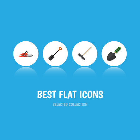 Flat Icon Garden Set Of Harrow, Spade, Hacksaw And Other Vector Objects. Also Includes Harrow, Spatula, Shovel Elements. Illustration
