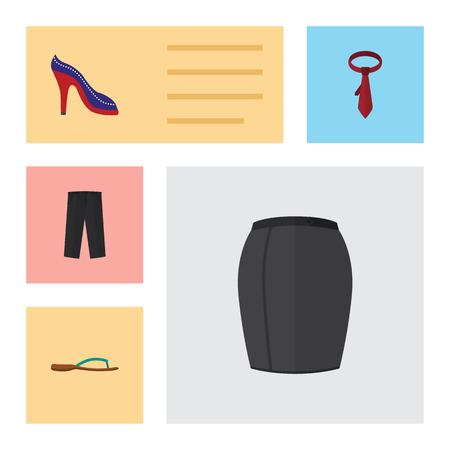 Flat Icon Clothes Set Of Cravat, Pants, Beach Sandal Vector Objects. Also Includes Leggings, Flip, Tie Elements.