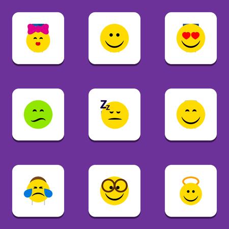 Flat Icon Gesture Conjunto de alegria, suor frio, sorriso e outros objetos vetoriais. Também Inclui olhos escuros, dormindo, anjo.