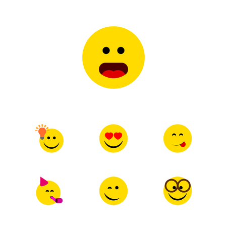Flat Icon Face Set Of Love, Winking, Pleasant And Other Vector Objects. Also Includes Party, Happy, Smile Elements. Illustration