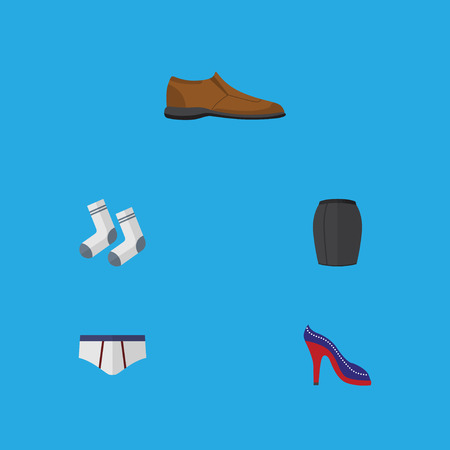 Flat Icon Dress Set Of Stylish Apparel, Male Footware, Underclothes And Other Vector Objects. Also Includes Apparel, Textile, Foot Elements.