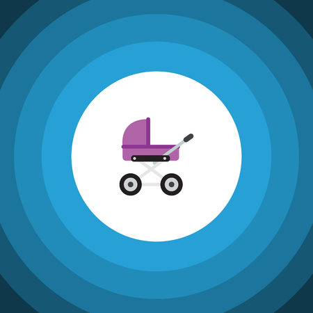 black family: Isolated Pram Flat Icon. Stroller Vector Element Can Be Used For Stroller, Baby, Pram Design Concept.