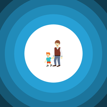 Isolated Brothers Flat Icon. Boys Vector Element Can Be Used For Brother, Boy, Men Design Concept. Illustration
