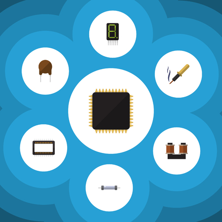 Flat Icon Technology Set Of Mainframe, Cpu, Resistor And Other Vector Objects. Also Includes Soldering, Cpu, Resistance Elements.