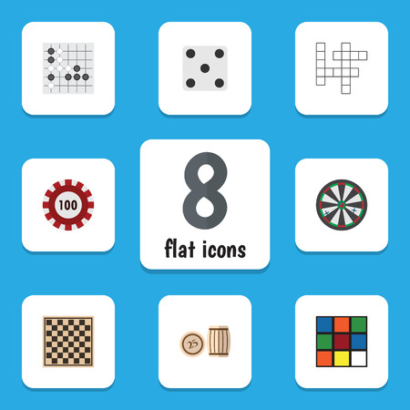 Flat Icon Entertainment Set Of Poker, Lottery, Chess Table And Other Vector Objects. Also Includes Bingo, Dice, Rubik Elements.