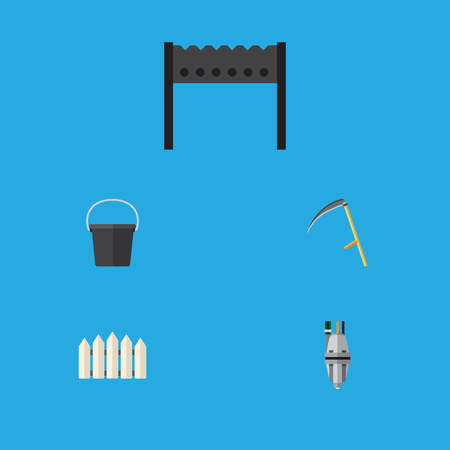 Flat Icon Dacha Set Of Wooden Barrier, Cutter, Barbecue And Other Vector Objects. Also Includes Container, Cutter, Equipment Elements. Illustration