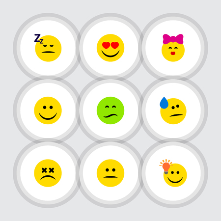 Flat Icon Face Set Of Frown, Love, Joy And Other Vector Objects. Also Includes Idea, Tears, Joy Elements. Illustration