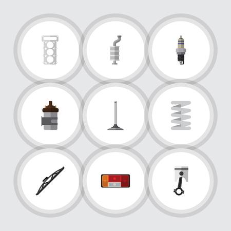 Platte pictogram Component Set van krukas, reserveonderdelen, demper en andere vectorobjecten. Bevat ook motor, demper, plug-elementen.