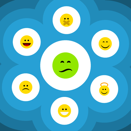 Flat Icon Gesture Set Of Frown, Sad, Angel And Other Vector Objects. Also Includes Smile, Sad, Angel Elements.