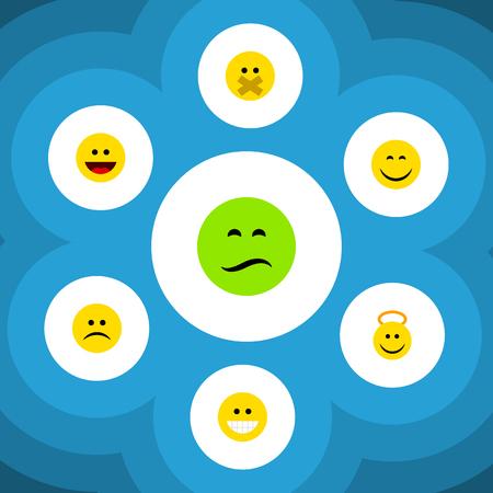 Plano Icon Gesture Conjunto de ceño fruncido, triste, Angel y otros objetos vectoriales. También incluye elementos de sonrisa, tristeza y ángel. Ilustración de vector