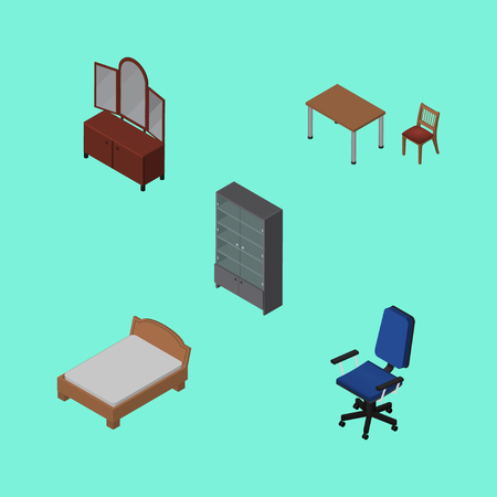Isometric Furniture Set Of Office, Chair, Bedstead And Other Vector Objects. Also Includes Chair, Cupboard, Bed Elements.
