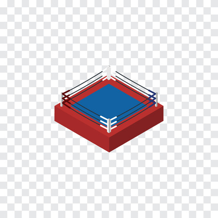 ko: Isolated Boxing Isometric. Fighting Vector Element Can Be Used For Boxing, Fighting, Arena Design Concept.