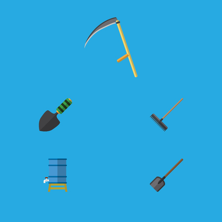 Flat Icon Farm Set Of Harrow, Shovel, Trowel And Other Vector Objects. Also Includes Cutter, Spade, Spatula Elements.