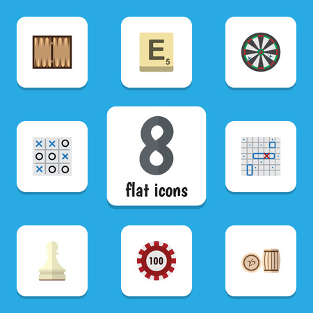 Flat Icon Play Set Of Pawn, Poker, Sea Fight And Other Vector Objects. Also Includes Backgammon, Mahjong, Bingo Elements. Illustration